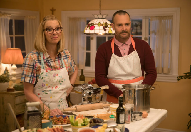 Lisa Kudrow stars as Charmaine and Will Forte as Doug in Olivia Wilde's directorial debut, BOOKSMART, an Annapurna Pictures release. Credit: Francois Duhamel / Annapurna Pictures