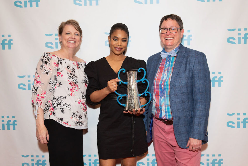 Seattle International Film Festival, SEATTLE, WASHINGTON - JUNE 02: SIFF Interim Executive Director Amy Fulford (L), actress Regina Hall, and SIFF Artistic Director Beth Barrett pose for a photo at the Egyptian Theater on June 02, 2019 in Seattle, Washington. (Photo by Suzi Pratt/Getty Images for SIFF)