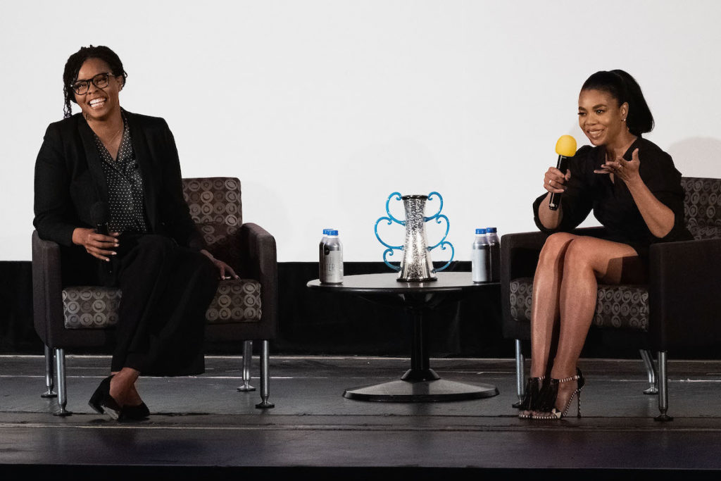 Seattle International Film Festival, SEATTLE, WASHINGTON - JUNE 02: Editor Jacqueline Coley (L) and actress Regina Hall speak on stage at the Egyptian Theater on June 02, 2019 in Seattle, Washington. (Photo by Suzi Pratt/Getty Images for SIFF)