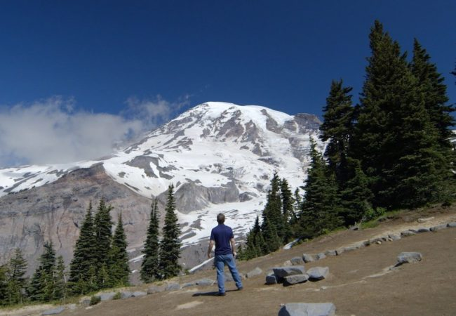A scene from RETURN TO SEATTLE at Mount Rainier.