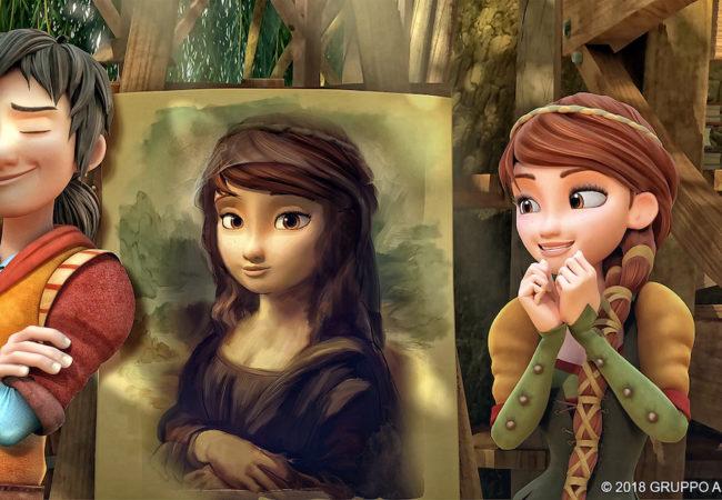 """Leo Da Vinci shows off his painting of his friend Lisa in Ammo Content and Gruppo Alcuni's """"Leo Da Vinci: Mission Mona Lisa""""."""