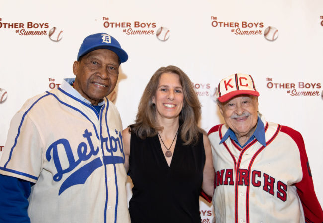 "Pedro Sierra (Detroit Stars), Lauren Meyer (Director), Jim Robinson (KC Monarchs) at the NYC premiere January 31, 2019. Photo Credit: ""Courtesy of The Cooper Union/Marget Long"""