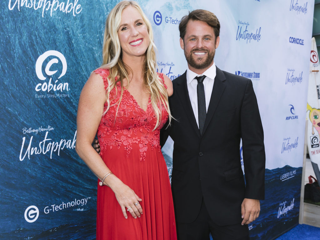 Bethany Hamilton and Director Aaron Lieber at the premiere of BETHANY HAMILTON - UNSTOPPABLE - photo credit Cole Ferguson