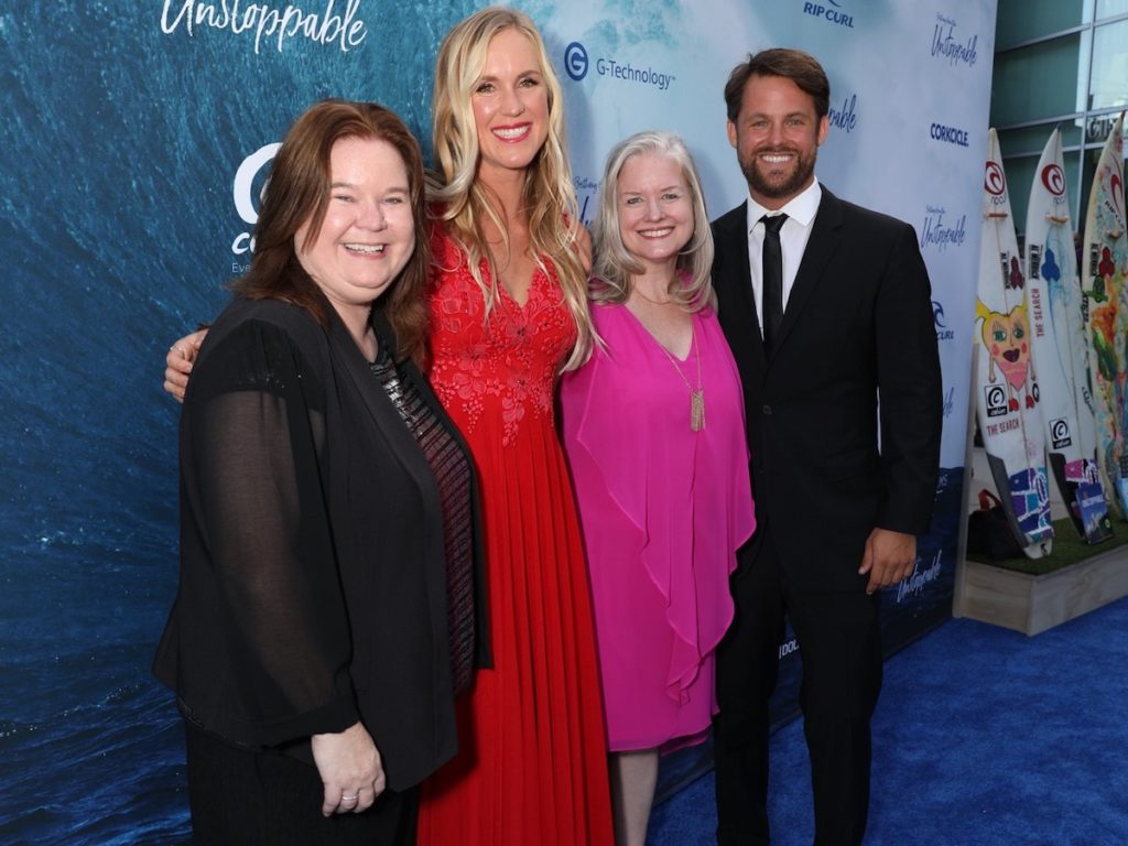 Penny Edmiston, Bethany Hamilton, Jane Kelly Kosek and Aaron Lieber at the premiere of BETHANY HAMILTON - UNSTOPPABLE - photo credit Cole Ferguson