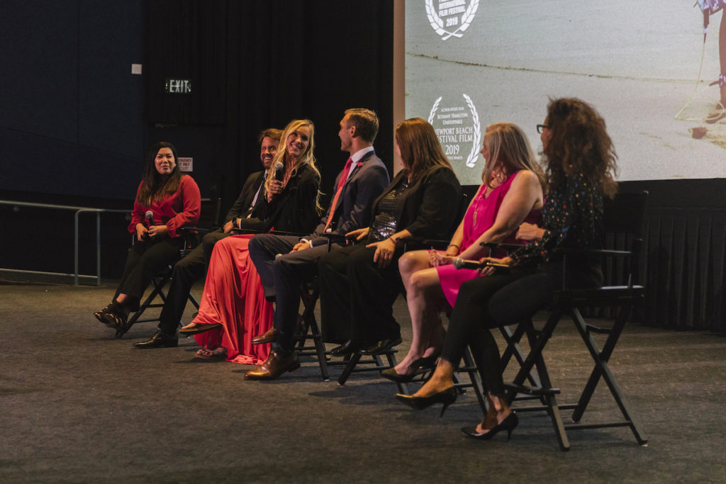 Moderator Ashley Lee (LA Times), Aaron Lieber, Bethany Hamilton, Adam Dirks, Penny Edmiston, Jane Kelly Kosek and Carol Martori at the premiere of BETHANY HAMILTON - UNSTOPPABLE - photo credit Cole Ferguson