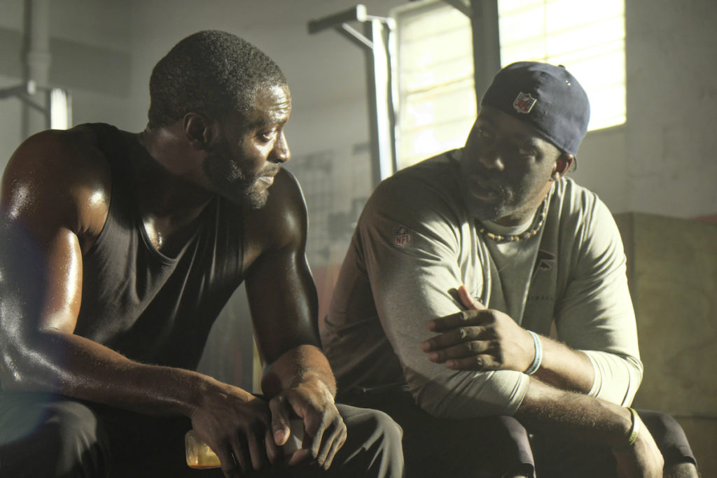 Aldis Hodge and Brian Banks on the set of Tom Shadyac's BRIAN BANKS