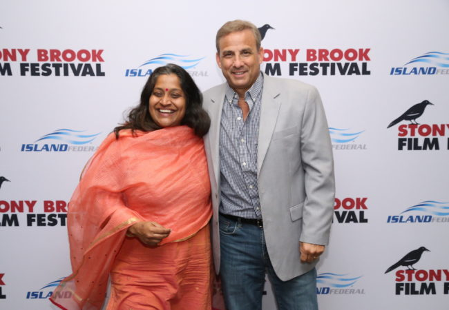 2019 Stony Brook Film Festival Grand Prize Winner Priya Ramasubban, Director, Chuskit with Stony Brook Film Festival and Staller Center for the Arts Director, Alan Inkles. (photo: Nick Koridis)