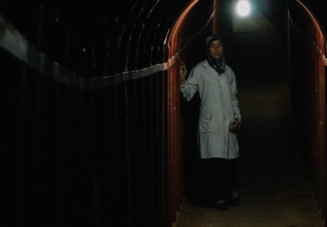 Al Ghouta, Syria - Dr. Amani in the underground tunnels. (Photo credit: National Geographic) (The Cave directed by Feras Fayyad)