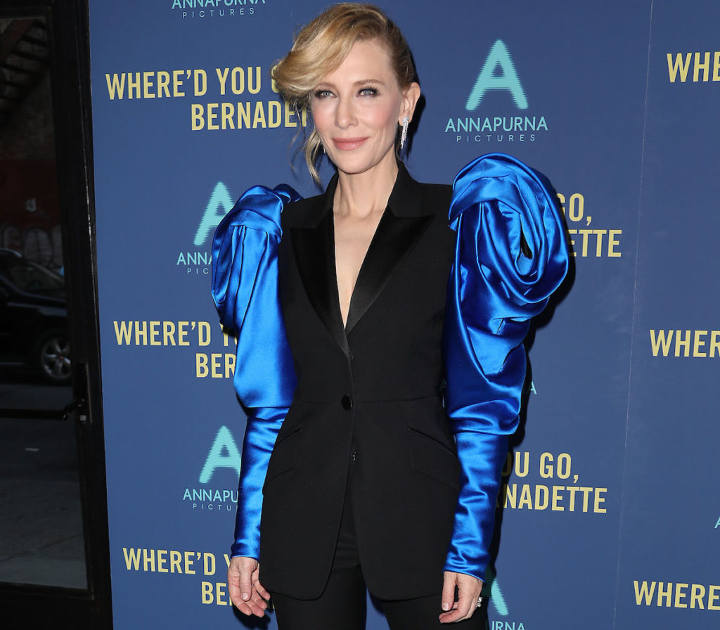"""- New York, NY - 8/12/19 - World Premiere of """"WHERE'D YOU GO, BERNADETTE"""". The film stars Billy Crudup, Cate Blanchett, Emma Nelson and Troian Bellisario, and is co-written and directed by Richard Linklater. It opens nationwide in theaters on August 16th, 2019. -Pictured: Cate Blanchett -Photo by: Kristina Bumphrey/StarPix -Location: Metrograph"""