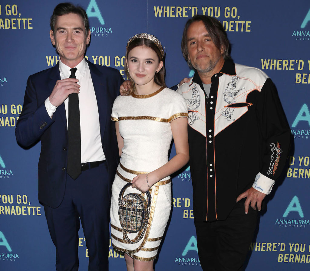 """- New York, NY - 8/12/19 - World Premiere of """"WHERE'D YOU GO, BERNADETTE"""". The film stars Billy Crudup, Cate Blanchett, Emma Nelson and Troian Bellisario, and is co-written and directed by Richard Linklater. It opens nationwide in theaters on August 16th, 2019. -Pictured: Billy Crudup, Emma Nelson and Richard Linkater (Director) -Photo by: Kristina Bumphrey/StarPix -Location: Metrograph"""