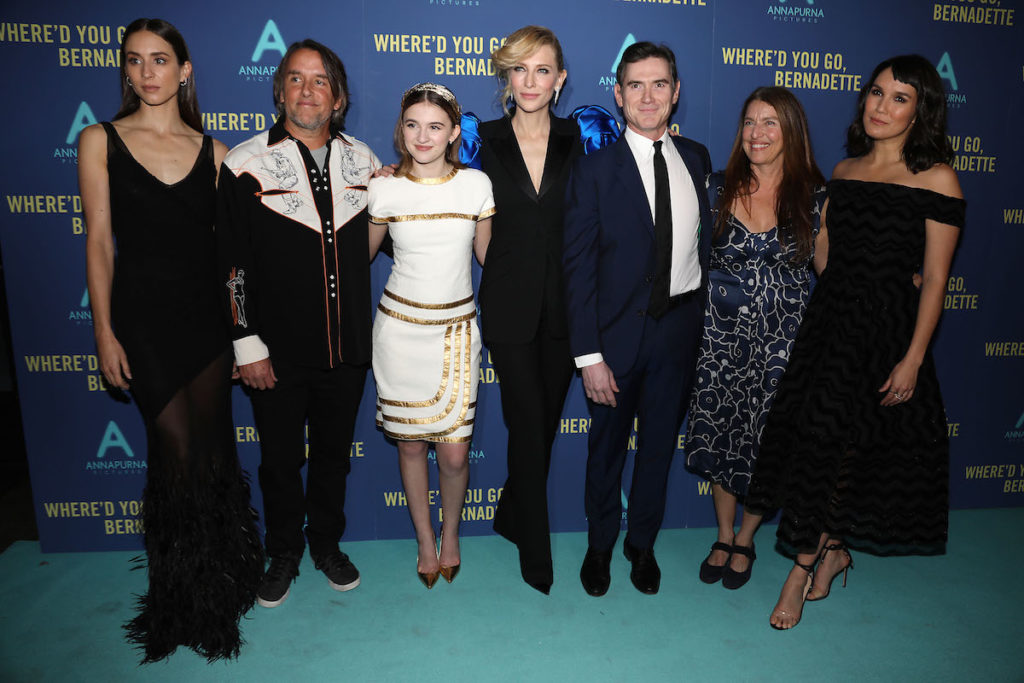 """- New York, NY - 8/12/19 - World Premiere of """"WHERE'D YOU GO, BERNADETTE"""". The film stars Billy Crudup, Cate Blanchett, Emma Nelson and Troian Bellisario, and is co-written and directed by Richard Linklater. It opens nationwide in theaters on August 16th, 2019. -Pictured: Cast of Where'd You Go, Bernadette with filmmakers -Photo by: Kristina Bumphrey/StarPix -Location: Metrograph"""