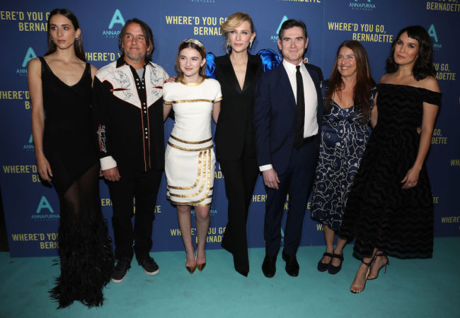 "- New York, NY - 8/12/19 - World Premiere of ""WHERE'D YOU GO, BERNADETTE"". The film stars Billy Crudup, Cate Blanchett, Emma Nelson and Troian Bellisario, and is co-written and directed by Richard Linklater. It opens nationwide in theaters on August 16th, 2019. -Pictured: Cast of Where'd You Go, Bernadette with filmmakers -Photo by: Kristina Bumphrey/StarPix -Location: Metrograph"