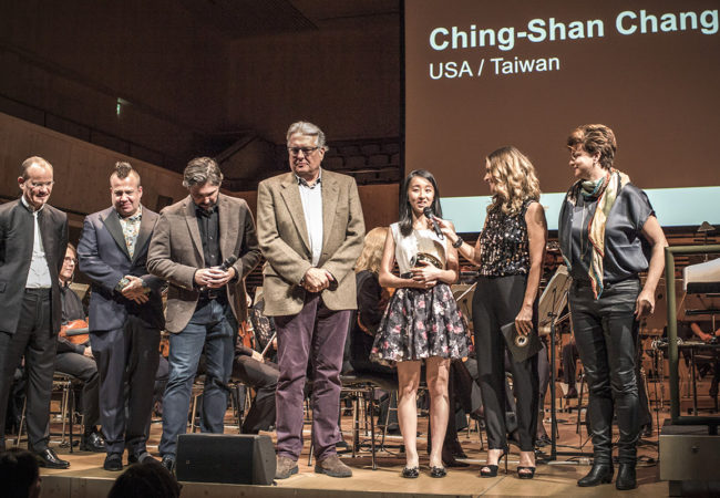 From left to right. Frank Strobel, film music director, Adrian Frutiger, Swiss film music composer, Robert Rugan, jury, Don Davis, jury president and Hollywood film composer, winner Ching-Shan Chang (USA), Andrea Staka, jury and Sandra Studer, presenter.