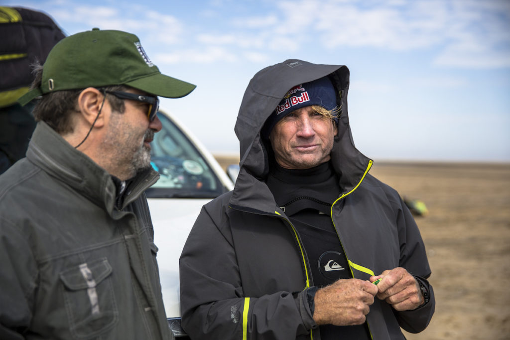 Robbie Naish and Joe Berlinger talking behinbd the scenes on beach at Skeleton Bay, Namibia on May 07, 2017 (THE LONGEST WAVE directed by Joe Berlinger)