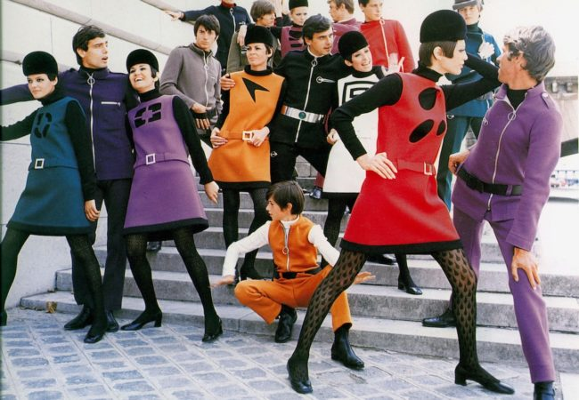 Pierre Cardin predicts the Space Age with his 1968 Cosmocorp line (Photo: Yoshi Takata) (House Of Cardin, directed by P. David Ebersole and Todd Hughes)