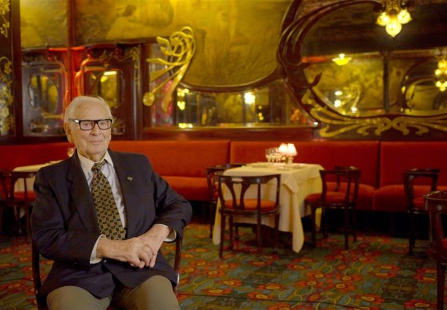 Pierre Cardin today at Maxim's de Paris, which he purchased in 1981. (Photo : still from HOUSE OF CARDIN/The Ebersole Hughes Company)(House Of Cardin, directed by P. David Ebersole and Todd Hughes)