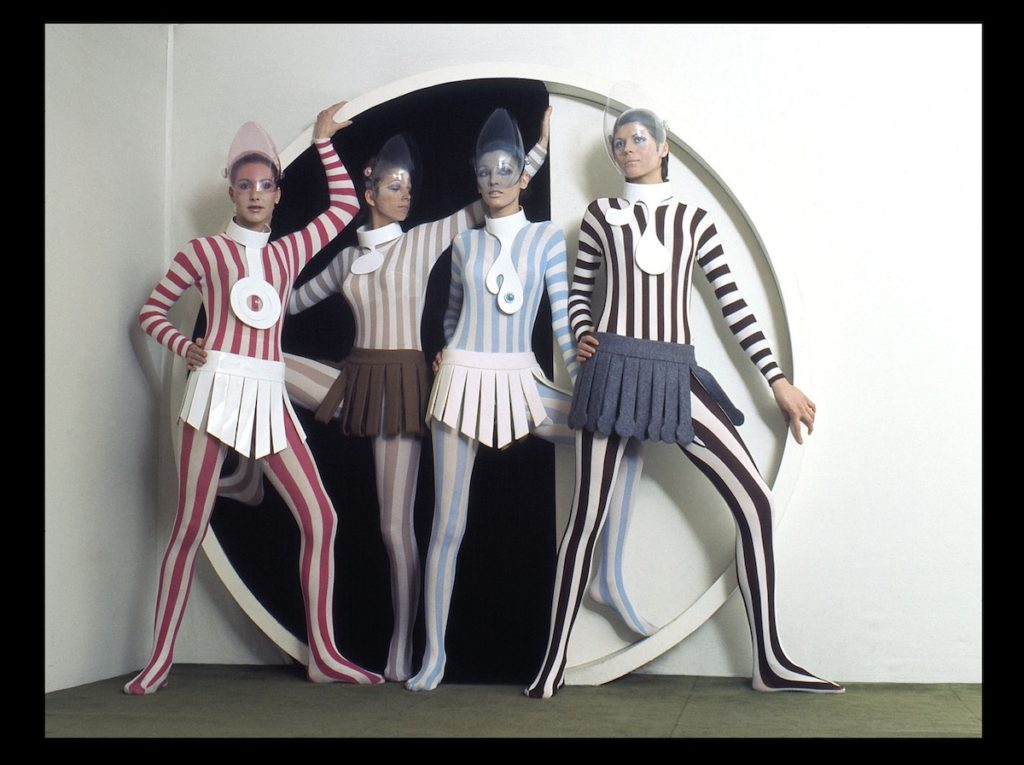 Striped jersey leotards and wool panel skirts, Pierre Cardiin Paris, haute couture collection, winter 1968. (Photo: Pierre Cardin Archives) (House Of Cardin, directed by P. David Ebersole and Todd Hughes)