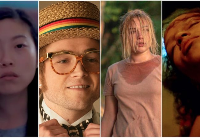 Awkwafina (The Farewell), Taron Egerton (Rocketman), Florence Pugh (Midsommar), and Taylor Russell (Waves)