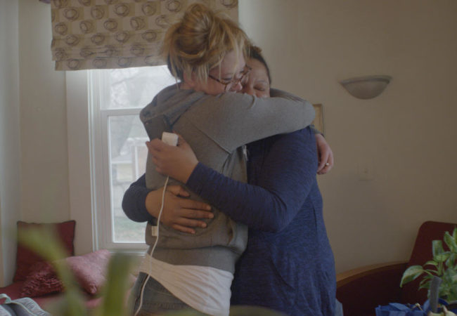 Maddison and Selena share a hug at the Guest House. Credit: Dweck Productions