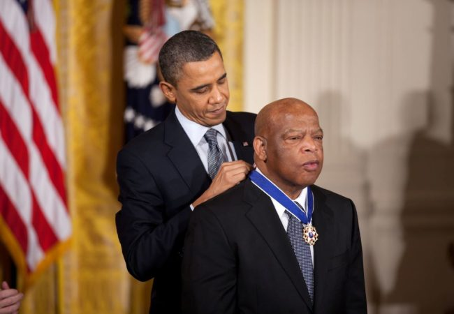 President Barack Obama awards the 2010 Presidential Medal of Freedom to Congressman John Lewis in a ceremony in the East Room of the White House February 15, 2011. (Official White House Photo by Lawrence Jackson)
