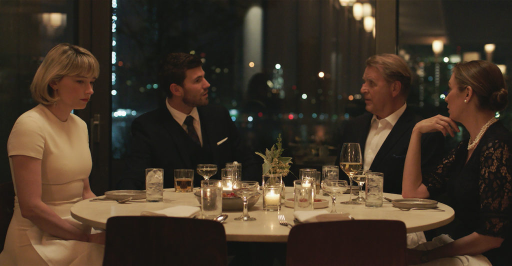 "[From left to right] Haley Bennet as ""Hunter,"" Austin Stowell as ""Richie,"" David Rasche as ""Michael"" and Elizabeth Marvel as Katherine. Courtesy of IFC Films. An IFC Films Release."