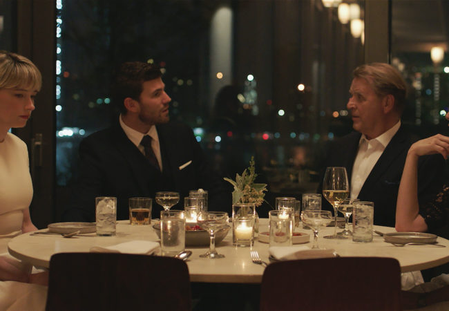 """[From left to right] Haley Bennet as """"Hunter,"""" Austin Stowell as """"Richie,"""" David Rasche as """"Michael"""" and Elizabeth Marvel as Katherine. Courtesy of IFC Films. An IFC Films Release."""