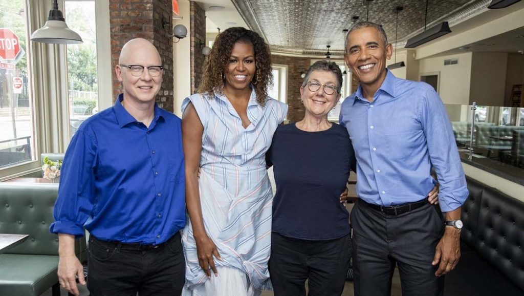 Former President Barack Obama and First Lady Michelle Obama with American Factory directors Julia Reichert and Steven Bognar