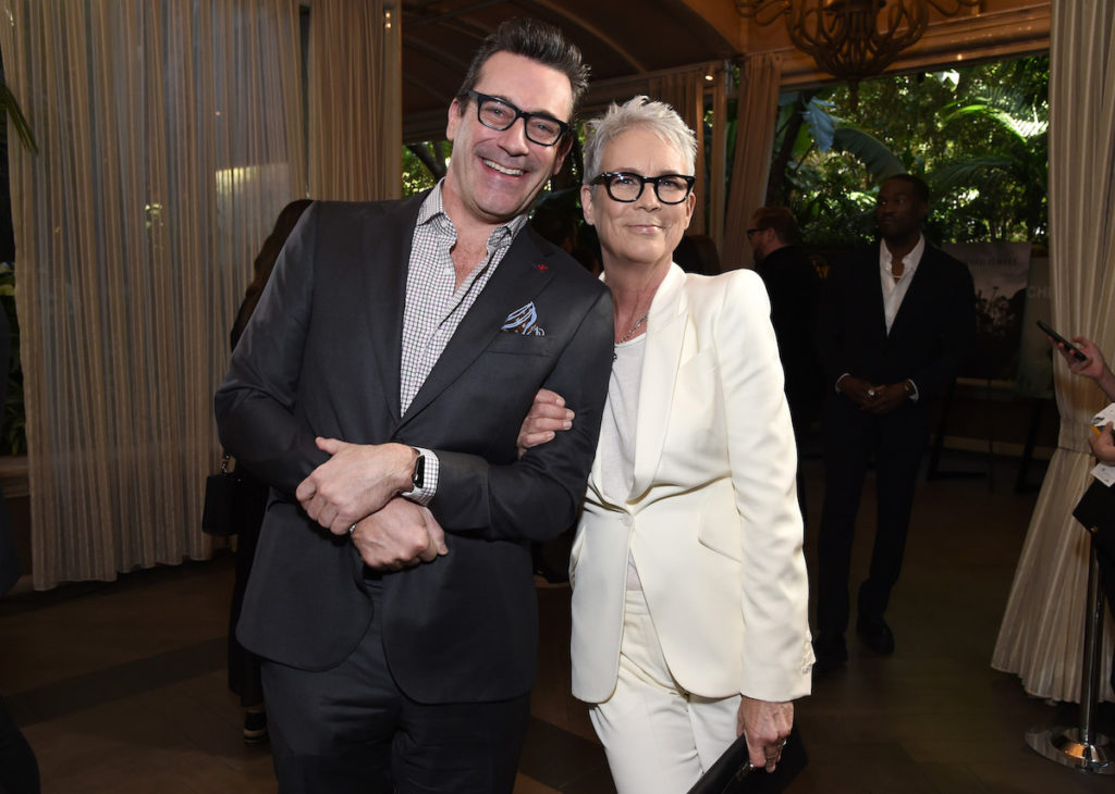 Jon Hamm (L) and Jamie Lee Curtis attend the 20th Annual AFI Awards at Four Seasons Hotel Los Angeles at Beverly Hills on January 03, 2020 in Los Angeles, California.