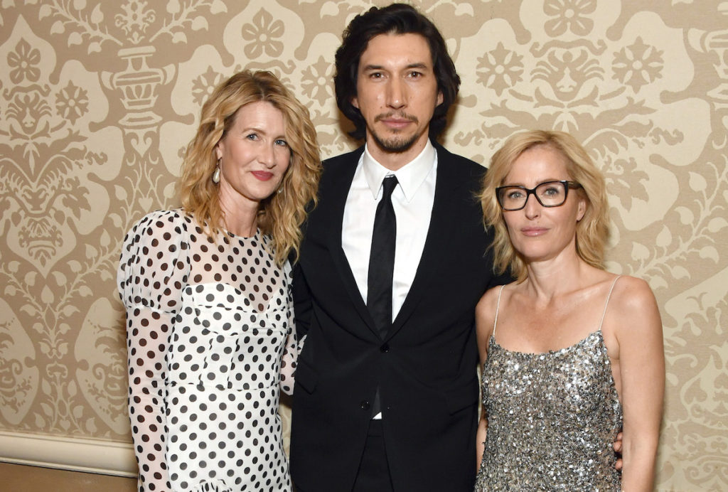 Actors Laura Dern, Adam Driver, and Gillian Anderson attend the 20th Annual AFI Awards at Four Seasons Hotel Los Angeles at Beverly Hills on January 03, 2020 in Los Angeles, California.