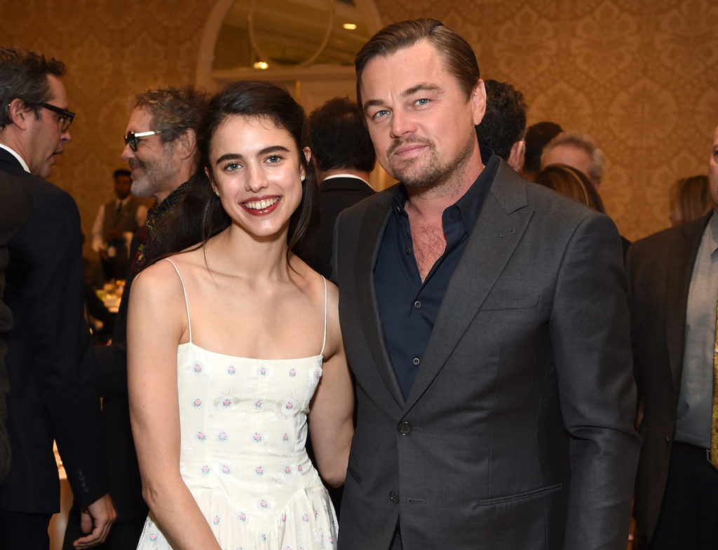 Margaret Qualley (L) and Leonardo DiCaprio attend the 20th Annual AFI Awards at Four Seasons Hotel Los Angeles at Beverly Hills on January 03, 2020 in Los Angeles, California.