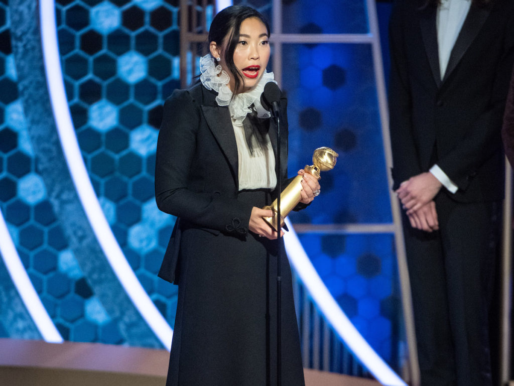 "Awkwafina accepts the Golden Globe Award for Best Performance by an Actress in a Motion Picture - Musical or Comedy for her role in ""The Farewell"" at the 77th Annual Golden Globe Awards at the Beverly Hilton in Beverly Hills, CA on Sunday, January 5, 2020."