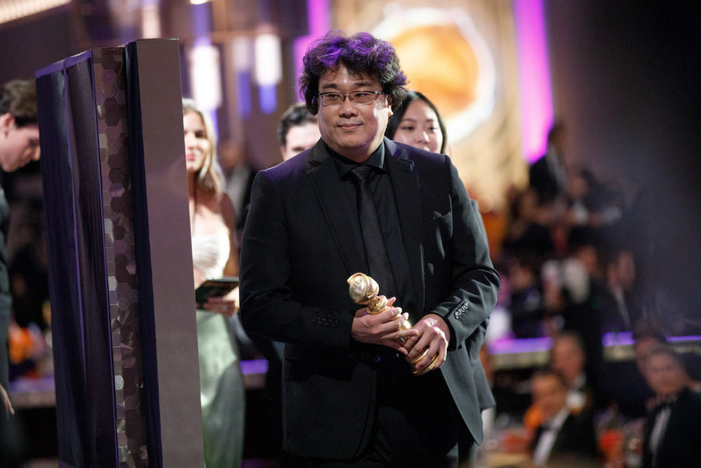 "Bong Joon Ho leaves the stage after winning the Golden Globe Award for Best Motion Picture - Foreign Language for ""Parasite"" at the 77th Annual Golden Globe Awards at the Beverly Hilton in Beverly Hills, CA on Sunday, January 5, 2020."