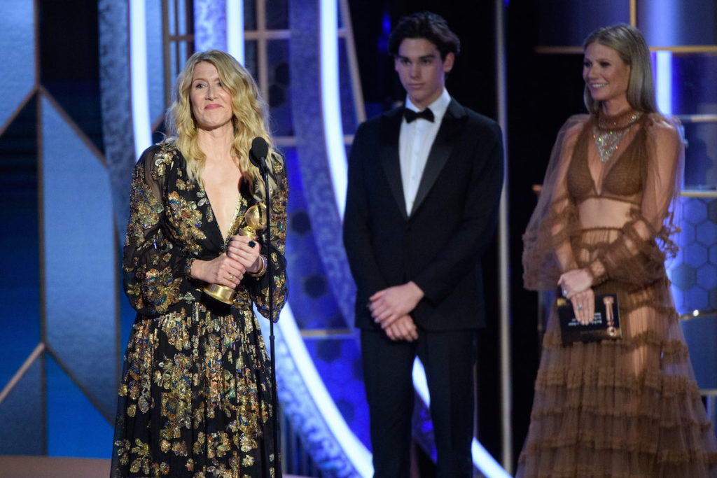 "Laura Dern accepts the Golden Globe Award for Best Performance by an Actress in a Supporting Role in any Motion Picture for her role in ""Marriage Story"" at the 77th Annual Golden Globe Awards at the Beverly Hilton in Beverly Hills, CA on Sunday, January 5, 2020."
