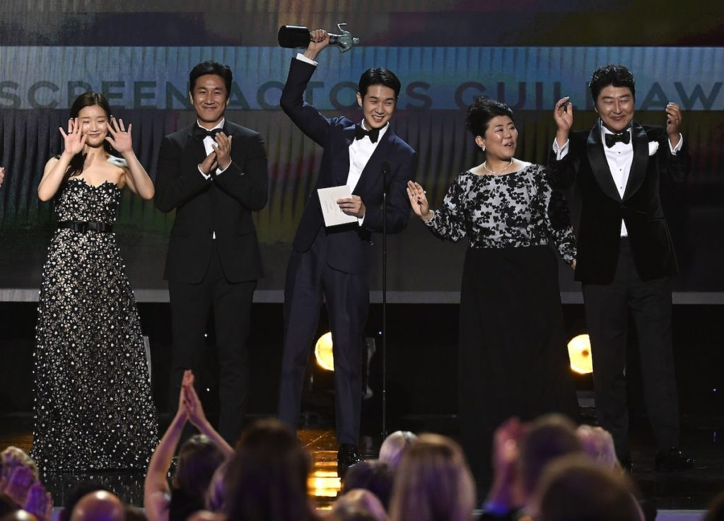 So-dam Park, Sun-kyun Lee, Woo-sik Choi, Jeong-eun Lee, and Kang-ho Song accept Outstanding Performance by a Cast in a Motion Picture for'Parasite' onstage during the 26th Annual Screen Actors Guild Awards at The Shrine Auditorium on January 19, 2020 in Los Angeles, California.