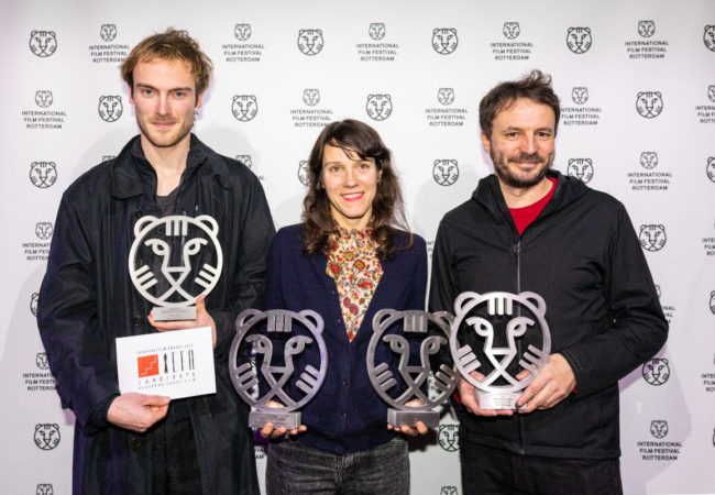 From left to right: Dorian Jespers, Maïder Fortuné, Ismaïl Bahri. Winners of International Film Festival Rotterdam - Ammodo Tiger Short Competition 2020.