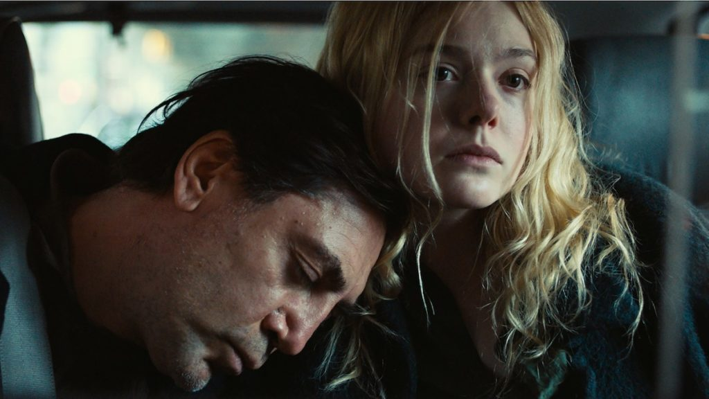 Javier Bardem, Elle Fanning in The Roads Not Taken by Sally Potter
