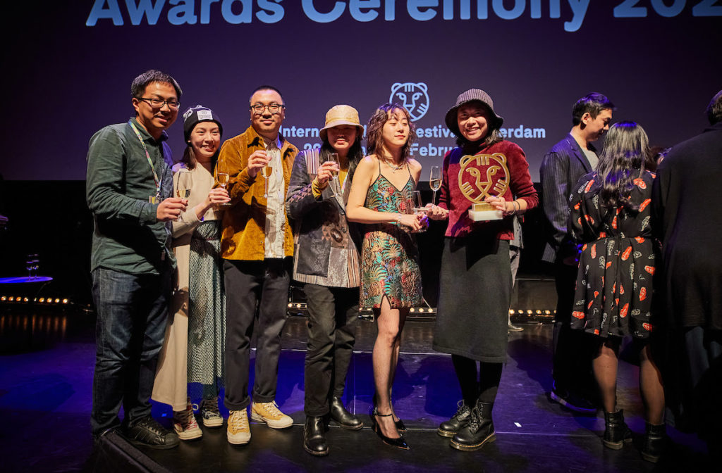 From left to right: Yuhao Su, Cuishan Liang, Wang Zijian, Liu Xinzhu, Jinjing en Zheng Lu Xinyuan. Winners of 49th International Film Festival Rotterdam
