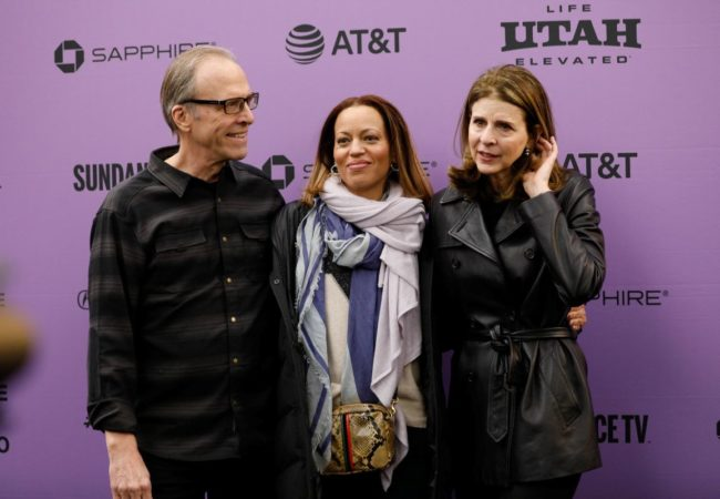 Director Kirby Dick, Drew Dixon and Director Amy Ziering attend the World Premiere of Saudi Runaway by Kirby Dick and Amy Ziering, an official selection of the World Documentary Competition at the 2020 Sundance Film Festival. © 2020 Sundance Institute | photo by Becca Haydu.