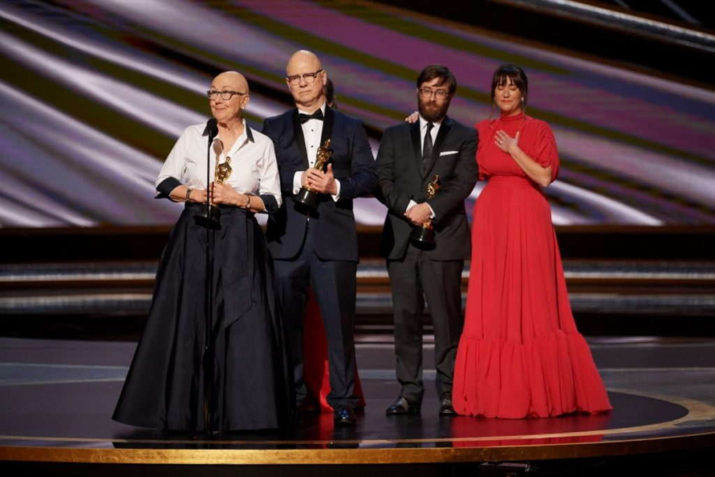 Julia Reichert, Seeven Bognar, and Jeff Reichert accept the Oscar® for Documentary Feature during the live ABC Telecast of The 92nd Oscars® at the Dolby® Theatre in Hollywood, CA on Sunday, February 9, 2020. | Blaine Ohigashi / ©A.M.P.A.S.