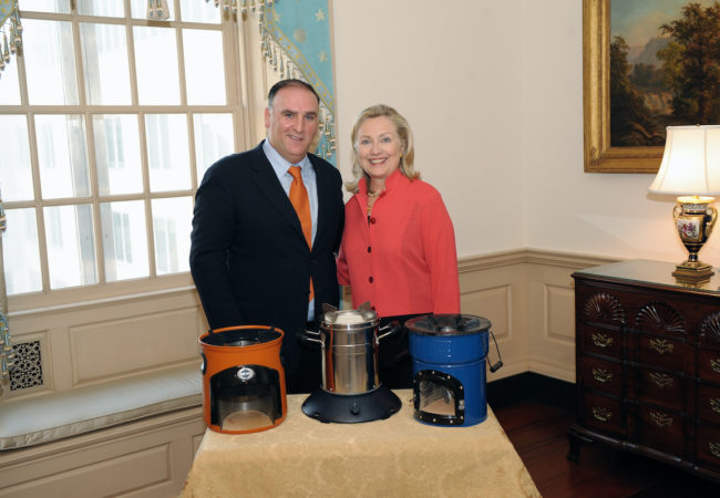 U.S. Secretary of State Hillary Rodham Clinton meets with Chef José Andrés, Culinary Ambassador for the Global Alliance for Clean Cookstoves, at the U.S. Department of State in Washington, D.C. [State Department]