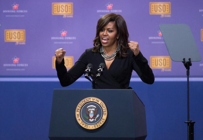 First Lady Michelle Obama speaks at the comedy show celebrating the 75th anniversary of the USO and the 5th anniversary of the Joining Forces initiative at Joint Base Andrews near Washington, D.C., May 5, 2016. DoD photo by E.J. Hersom