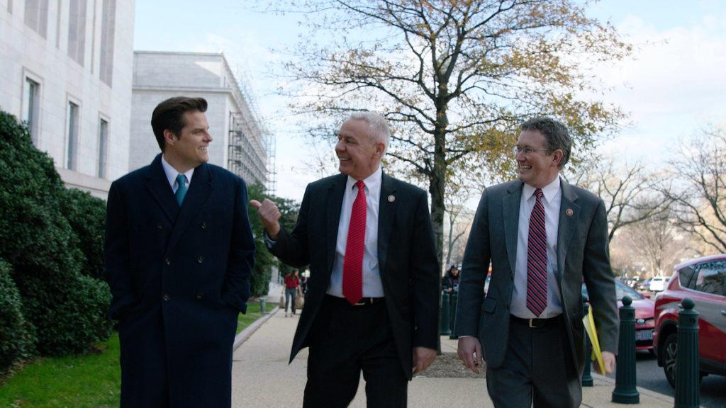 Republican Congressmen Matt Gaetz (R-FL), Thomas Massie (R-KY), and Ken Buck (R-CO) in HBO Documentary THE SWAMP
