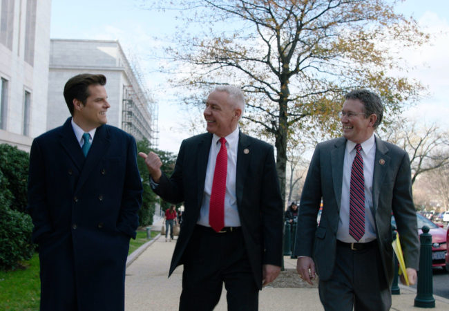 Republican Congressmen Matt Gaetz (R-FL), Thomas Massie (R-KY), and Ken Buck (R-CO) in HBO Documentary THE SWAMP
