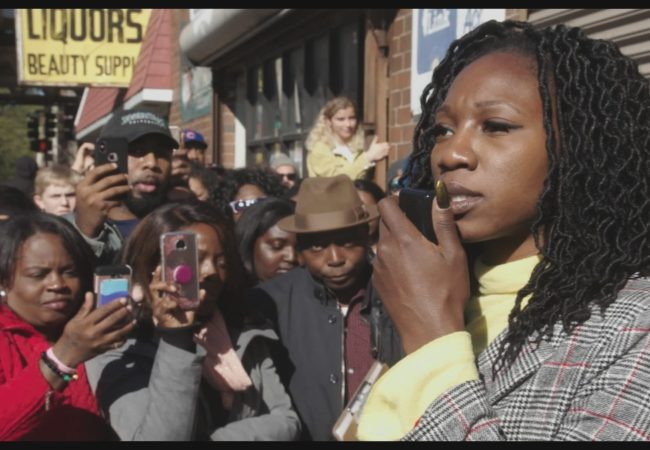"Amara Enyia at a rally in Chicago in ""City So Real""(courtesy Participant Media)"