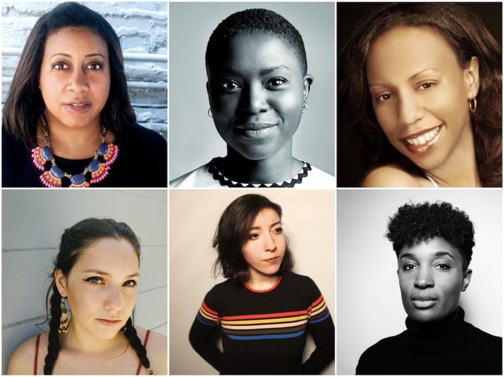Winners of 2020 Sundance Institute Women at Sundance | Adobe Fellows (clockwise - top l to r) Jameka Autry, Milisuthando Bongela, Ericka Blount Danois, Dionne Edwards, Dina Hashem, Suzanne Kite