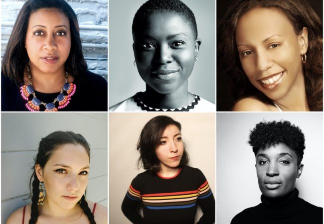 Winners of 2020 Sundance Institute Women at Sundance | Adobe Fellows (clockwise - top l to r) Jameka Autry, Milisuthando Bongela, Ericka Blount Danois, Dionne Edwards, Dina Hashem, Suzanne Kite