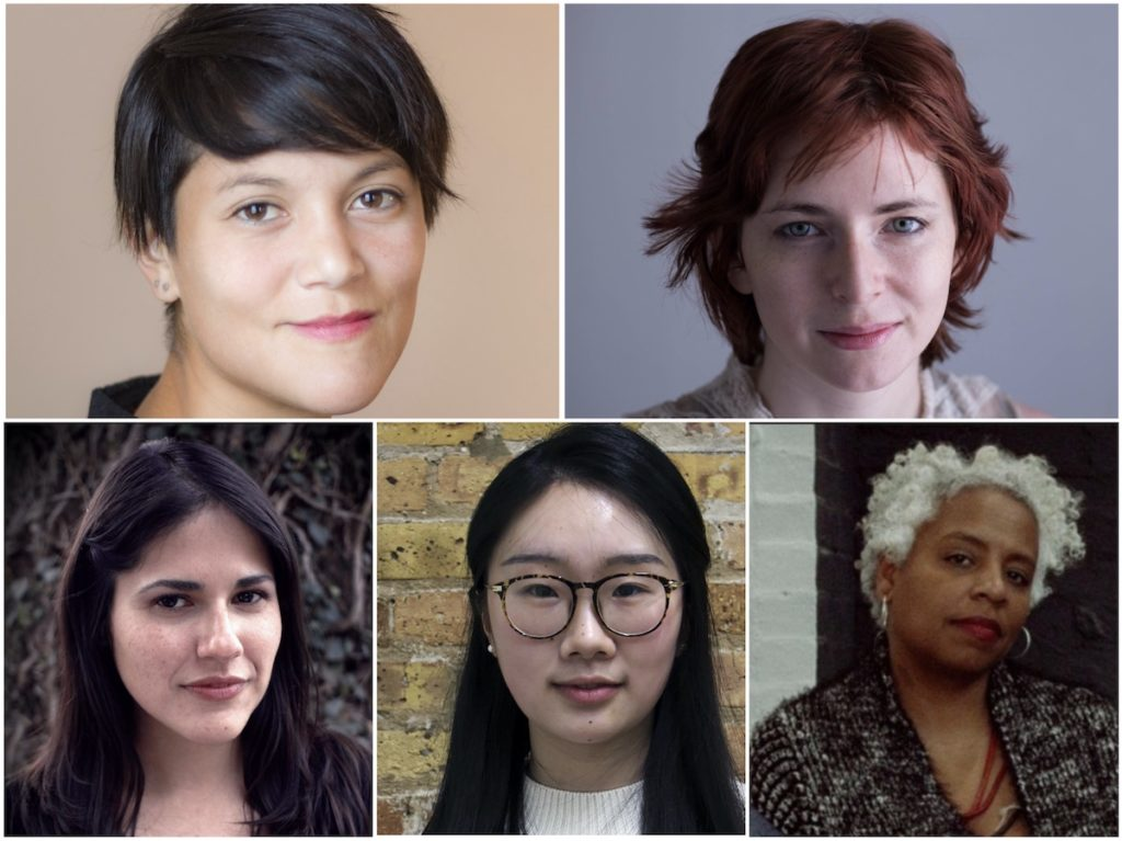 Winners of 2020 Sundance Institute Women at Sundance | Adobe Fellows (clockwise - top l to r) Lauren Lee McCarthy, Laura Moss, Elissa Blount Moorhead, Jenny Shi, Iliana Sosa