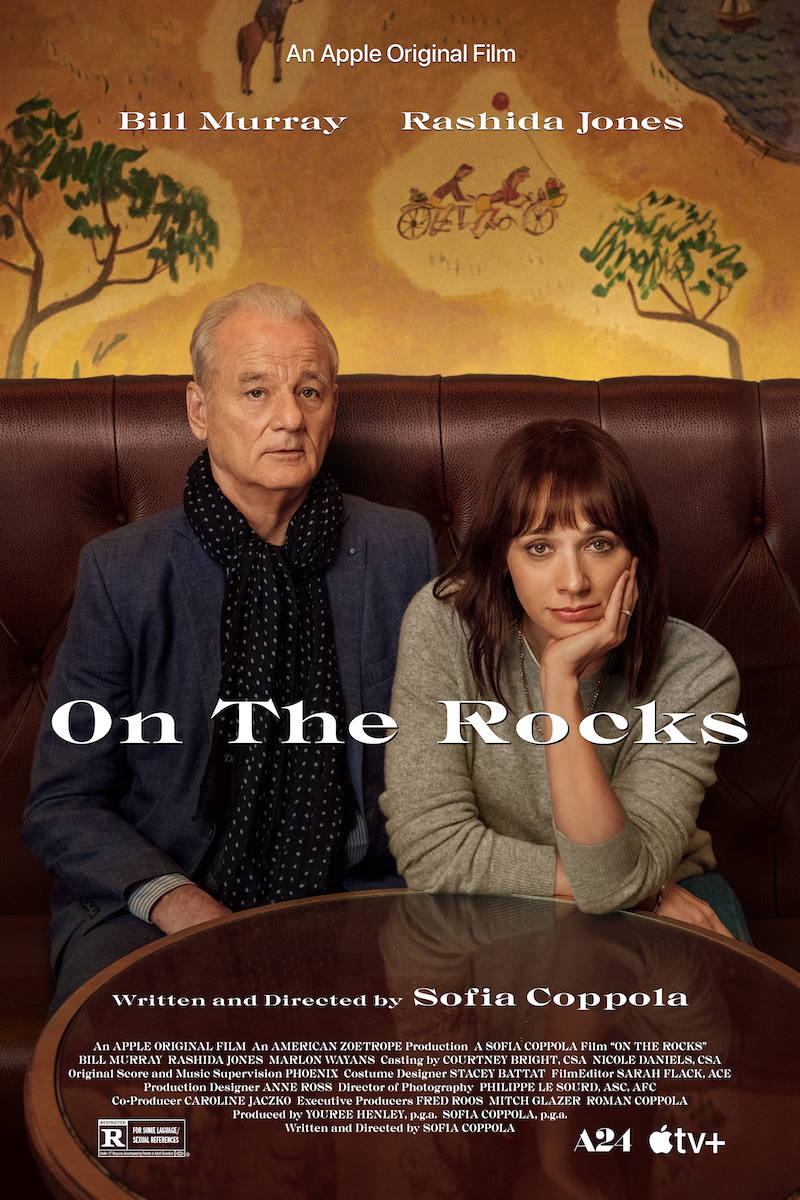 Poster for ON THE ROCKS, from Writer-Director Sofia Coppola starring Bill Murray, Rashida Jones, and Marlon Wayans