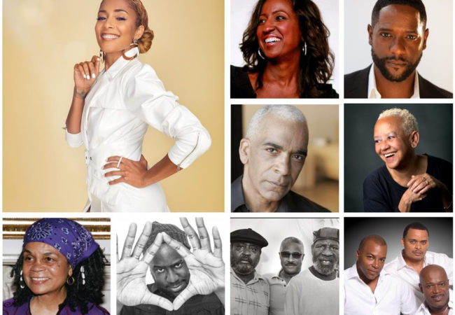 (L TO R) - AMANDA SEALES; TOP TILE - MELISSA HAIZLIP/BLAIR UNDERWOOD; MIDDLE TILE - STAN LATHAN/NIKKI GIOVANNI; BOTTOM TILE - SONIA SANCHEZ/ROBERT GLASPER/THE LAST POETS/BLACK IVORY - Courtesy of Shoes in the Bed Productions