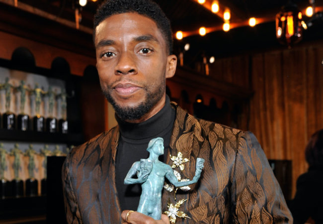 LOS ANGELES, CA - JANUARY 27: Chadwick Boseman attends the 25th Annual Screen Actors†Guild Awards at The Shrine Auditorium on January 27, 2019 in Los Angeles, California. 480720 (Photo by John Sciulli/Getty Images for Turner) *** Local Caption *** Chadwick Boseman